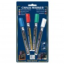 Chalk Marker - Coloured - Small - 1-2mm Nib - blue, red, green, white - Set of 4