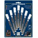 Chalk Marker - White - 1 large, 2 medium and 2 small markers - Set of 5