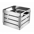 Crate Brushed Stainless Steel and Black Trim Cultery Caddy with 4 Divider Insert