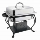 Chaplin Hammered SS Rectangular Chafing Dish w/ Black Stand
