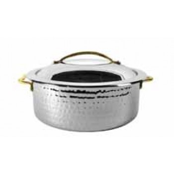 Skyserv Induction Hammered Mirror Finish Stainless Steel Round Dutch Oven with Lid