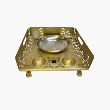 Queen Anne Gold Finish Laser Cut Snack Warmer set