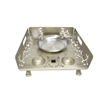 Queen Anne Silver Plated Laser Cut Snack Warmer set