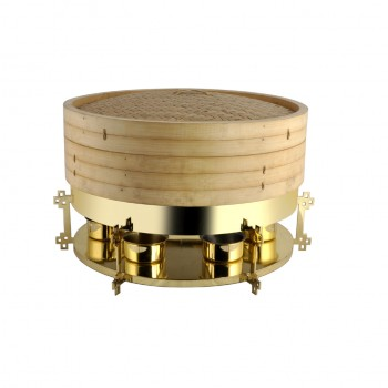 China Town Gold Finish Dimsum Steamer Large