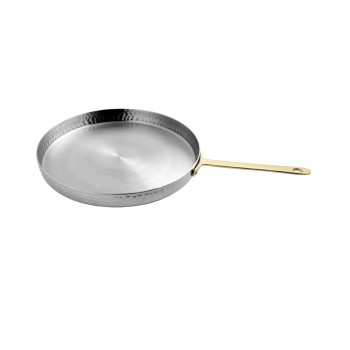 Skyserv Induction Hammered Stainless Steel Round Pan with Gold Handle