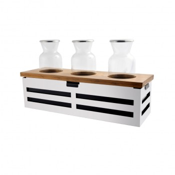 Crate White Stainless Steel Beverage Station w/ 3 Bottles