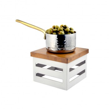 Crate White Stainless Steel Warm Riser with Magnetic Wood Top