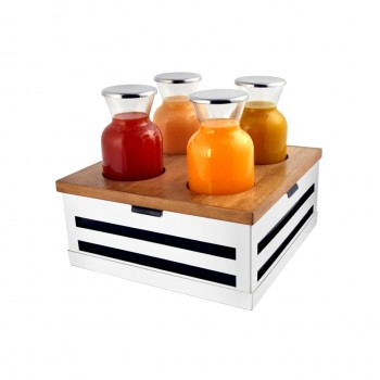 Crate White Stainless Steel Beverage Station w/ 4 Bottles