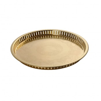 Gallery Etched Gold Finish Round Tray