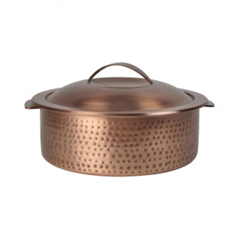 Skyserv Induction Hammered Burnt Copper Finish Round Dutch Oven with Lid