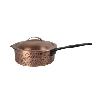 Skyserv Induction Hammered Burnt Copper Finish Round Sauce Pan with Lid