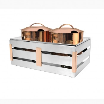 Crate Mirror Stainless Steel and Copper Trim Soup Station