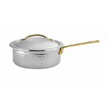 Skyserv Induction Hammered Mirror Finish Stainless Steel Round Sauce Pan with Lid