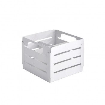 Crate White Stainless Steel Cutlery Caddy w/ 4 Devider Insert