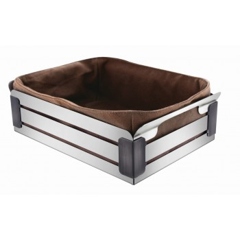 Crate Brushed Stainless Steel and Black Trim Rectangular Basket with Bread Bag Insert