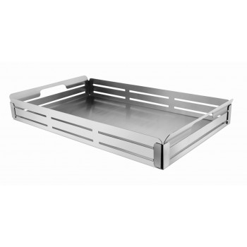 Crate Brushed Stainless Steel and Black Trim Buffet Tray