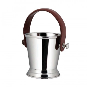 Club Mirror Stainless Steel with Leather Handle Champagne Bucket