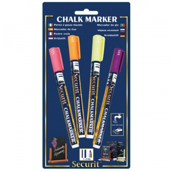 Chalk Marker - Tropical - Small - 1-2mm Nib - yellow, pink, orange, purple - Set of 4