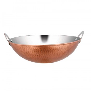 Marrakech Burnt Copper Finish Round Wok