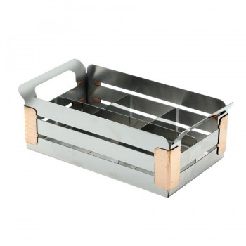 Crate Mirror Stainless Steel Condiment Caddy with 6 Divider Insert