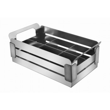 Crate Brushed Stainless Steel and Black Trim Condiment Caddy with 6 Divider Insert
