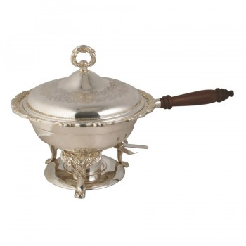 Queen Anne Induction Mirror Stainless Steel Round Chafing Dish with Wood Handle