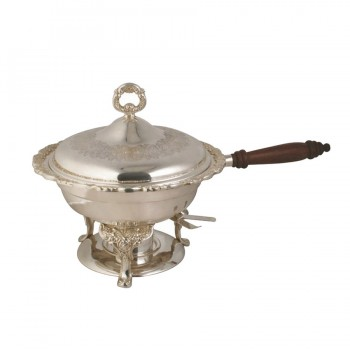 Queen Anne Silver Finish Round Induction Chafing Dish with Wood Handle
