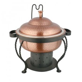 Marrakech Burnt Copper Finish Hammered Round Chafing Dish with Matt Black Stand