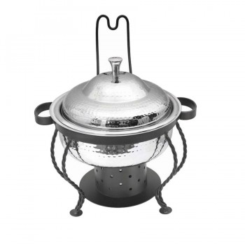 Chaplin Hammered Stainless Steel Round Chafing Dish with Black Matt Stand