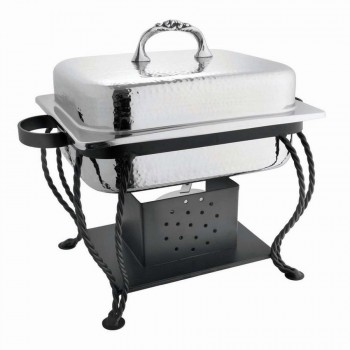 Chaplin Hammered Stainless Steel Rectangular Chafing Dish with Black Matt Stand