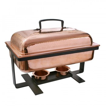 Masala Hammered Copper Finish Rectangular Chafing Dish with Matt Black Stand