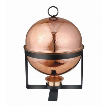 Masala Hammered Copper Round Chafing Dish w/ Black Stand