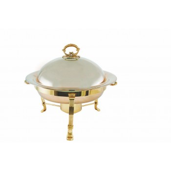 White Gold Finish Round Chafing Dish with Gold Finish Stand