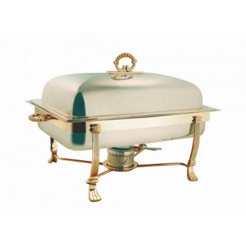 White Gold Finish Rectangular Chafing Dish with Gold Finish Stand