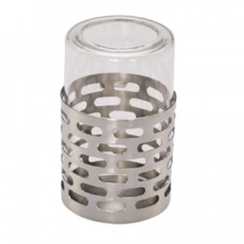 Sensation Mirror Stainless Steel Round Candle Holder with Glass insert