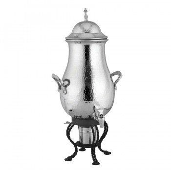 Chaplin Hammered Stainless Steel Round Samovar with Black Matt Stand
