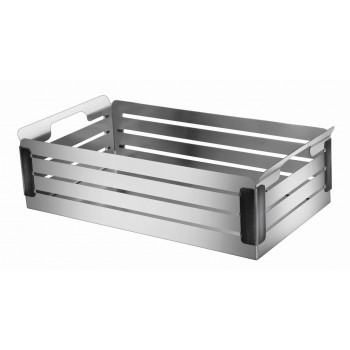 Crate Brushed Stainless Steel and Black Trim Fruit Basket
