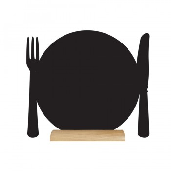 Silhouette Table Chalk Board - Plate - (Wooden Base) Including Chalk Marker