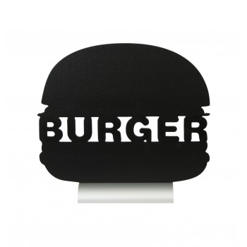 Securit Silhouette Table Chalk Board - Burger (Alu. Base) - Including Chalk Marker