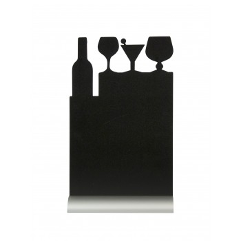 Securit Silhouette Table Chalk Board - Cocktail (Alu. Base) - Including Chalk Marker