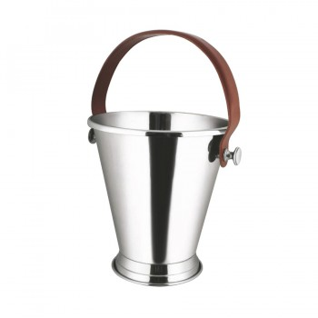 Club Mirror Stainless Steel with Leather Handle Mini Ice Bucket