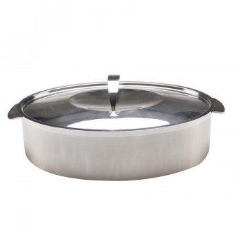 Skyserv Induction Dual Finish Stainless Steel Oval Dutch Oven with Lid