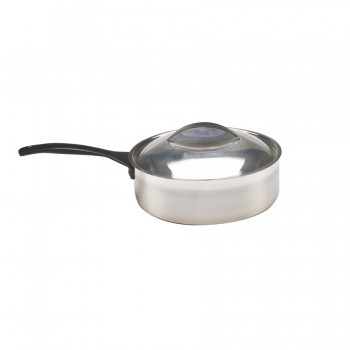 Skyserv Induction Dual Finish Stainless Steel Round Saute Pan with Lid