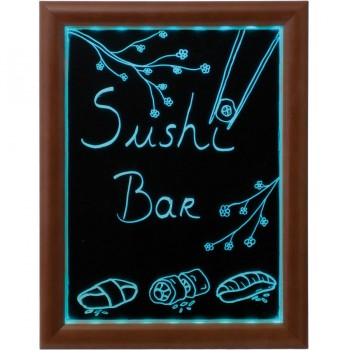 LED Chalk Board - Dark Brown - Including Chalk Marker & Remote