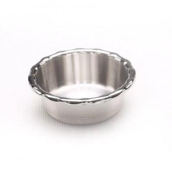 MiniBytes Mirror Stainless Steel Round Ruffled Edge Dish