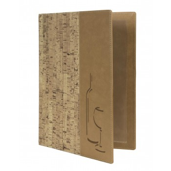 Securit Design leather style menu holder - 2 double inserts (displays 8 pages)