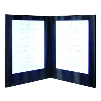 LED Menu Holder - Black Clr - Displays 2 x A4 Paper / Transparent inserts (A4/A5)