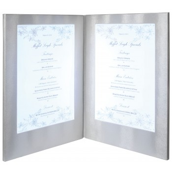 LED Menu Holder - Silver Clr - Displays 2 x A4 Paper / Transparent inserts (A4/A5)