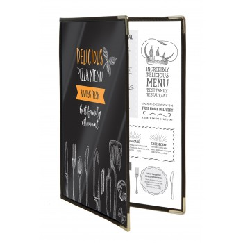 Securit Crystal Transparent Triple A4 Menu Holder (4 pages Display) - (set of 3)
