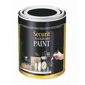 Chalkboard paint, Black Water-based acrylic paint for use with chalkmarkers or traditional chalk. For glass, metal, ceramic, plastic and wood